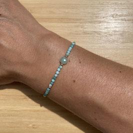 Bracelet doré Amazonite 2mm, REF: BD06-03
