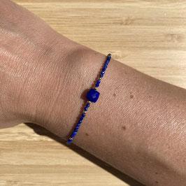 Bracelet doré Lapis Lazuli 2mm, REF: BDF10-01