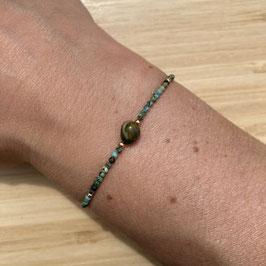 Bracelet doré Turquoise Africaine 2mm, REF: BD51-03