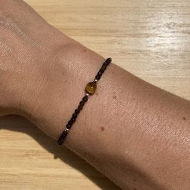 Bracelet doré Obsidienne dorée 2mm, REF: BD66-02