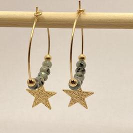 Boucles dorées Jade sésame vert, REF: BOD08-01