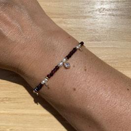 Bracelet doré Grenat et perles de culture 3mm, REF: BD70-03