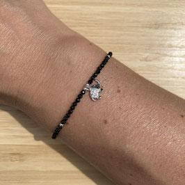 Bracelet argenté Spinelle 2mm, REF: BA11-23