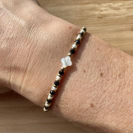 Bracelet doré Spinelle et perles de culture 3mm, REF: BD72-01