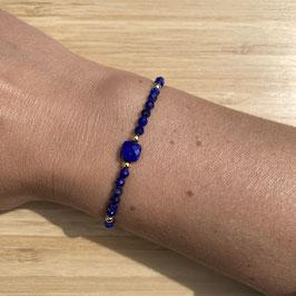 Bracelet doré Lapis Lazuli 3mm, REF: BD12-05