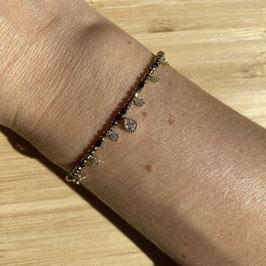 Bracelet doré Pyrite et Spinelle 2mm, REF: BD73-01