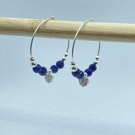 Boucles argentées Lapis Lazuli, REF: BOA02-02