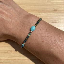 Bracelet doré Turquoise Africaine 3mm, REF: BD53-03
