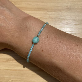 Bracelet doré Amazonite 2mm, REF: BDF05-01