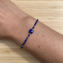 Bracelet doré Lapis Lazuli 2mm, REF: BD10-08