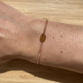 Bracelet doré Pierre du soleil 2mm, REF: BD17-02