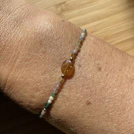 Bracelet doré Agate indienne 2mm, REF: BD20-03