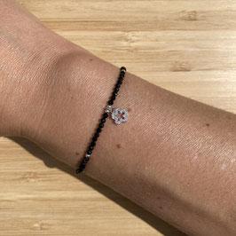 Bracelet argenté Spinelle 2mm, REF: BA11-18