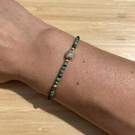 Bracelet doré Turquoise Africaine 3mm, REF: BD53-05