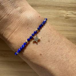 Bracelet doré Lapis lazuli 3mm, REF: BD12-03