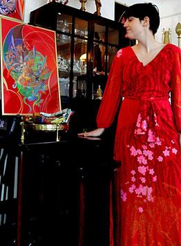 Vintage De Parisini Seidenkleid Kirschblüte
