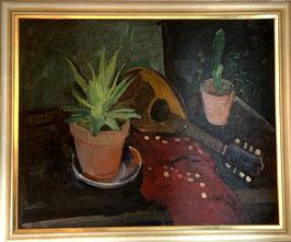Ölgemälde Stilleben Kakteen mit Laute c. 1920
