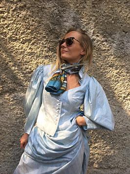 Vintage Seidendirndl eisblau Edith Moser