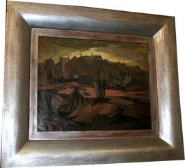 Ölgemälde Kubistische Landschaft unsigniert c. 1940