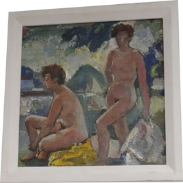 Ölgemälde 2 nackte Damen am See mit Segelschiff c. 1920