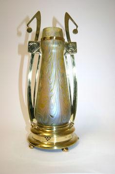 Lötz Vase mit Messingmontierung c. 1900