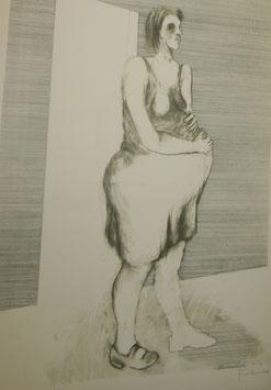 """ADOLF FROHNER Radierung """"Schwangere Frau""""  c. 1970"""