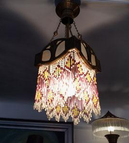 Jugendstil Lampe mit Glasperlen