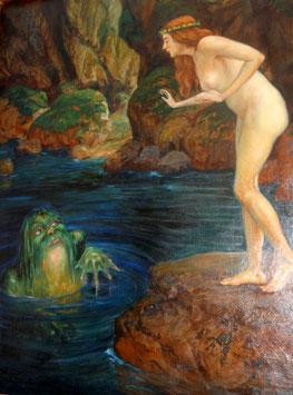 Ölgemälde Alfred von Pirkert, nackte Schönheit und Froschkönig c, 1930