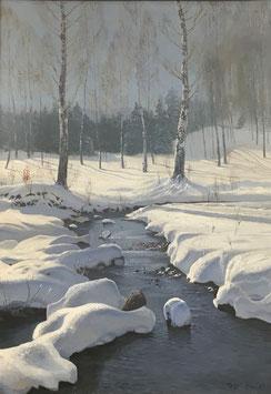 TONY HALLER Ölgemälde, Winterlandschaft mit Bach, c. 1930