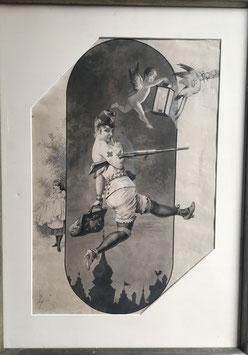 GOTTFRIED SIEBEN Sepia  Soldatin Erste Hilfe, c. 1900