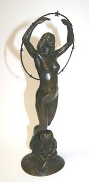 Bronzefigur Emil Meier  Mädchen mit Kind mit Sternenkranz c. 1900