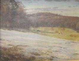 Ölgemälde Antón Fikulka, Landschaft Schneeschmelze c. 1930