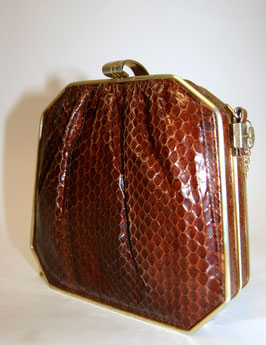 Vintage Krokotasche mit Goldkette