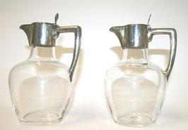 Paar Jugendstil Glaskaraffen mit Silbermontierung c. 1900