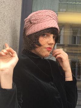 Wiener Modelhut Vintage Rosa Turban mit Netz