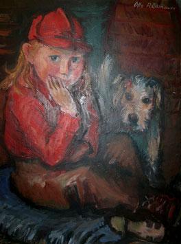 OTTO RÜDENAUER Ölgemälde, Mädchen mit Fox Terrier c. 1920