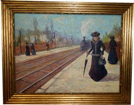 Ölgemälde Modedame am Bahnsteig c. 1920