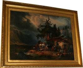 """Josef ELSLERFEIT """"Tiere in den Stall bringend"""" nach Gauermann c. 1840"""