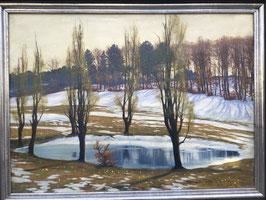 ANTÒN FILKULKA Ölgemälde, Landschaft Schneeschmelze, c. 1930