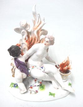 Meissen Porzellangruppe Allegorie des Feuer c. 1820