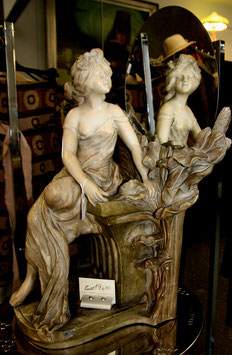 Goldscheider Keramik Figur Dame mit Spiegel Jugendstil c. 1930