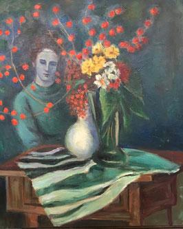 PAUL FLOCH zugeschrieben; Ölgemälde Frau mit Blumen am Tisch, c. 1930