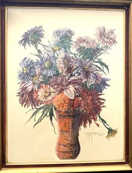 Gustav Veith Aquarell Dahlien Blumenstrauß in Vase 1934