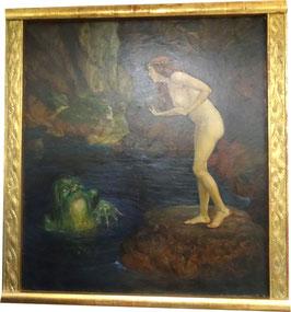 ALFRED VON PIRKERT Ölgemälde, nackte Schönheit und Froschkönig c, 1930
