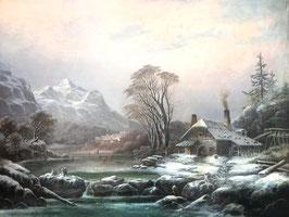 ALBERT  DE MAREES Ölgemälde, Winterlandschaft, München 1866