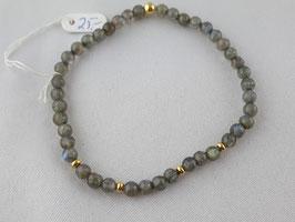 Labradorit Armband in Silber (925) vergoldet, auf Gummi