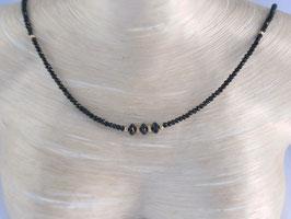 Schwarze Spinell Kette mit diamantierten Silber (925) vergoldet, Best.-Nr.:SKSV0001