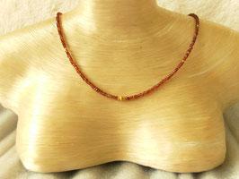 Granatkette mit diamantierte Linse in Silber(925) vergoldet, mittig, Best.-Nr.:GKSV003
