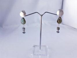Wechsel (runde Form) - Ohrring mit Labradorit