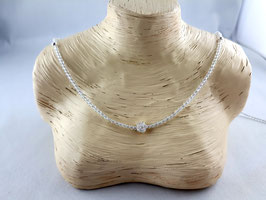Bergkristall - Kette mit Blume (925 Silber)